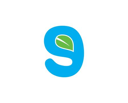 Initial letter G logo with green leaf ecology nature element vector icon