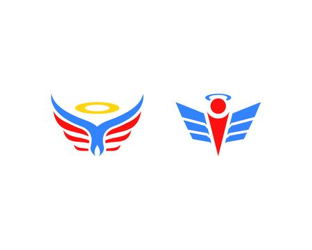Set of Angel logo design Vettoriali