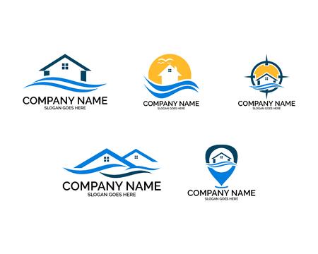 Set di modello di progettazione del logo della casa sulla spiaggia