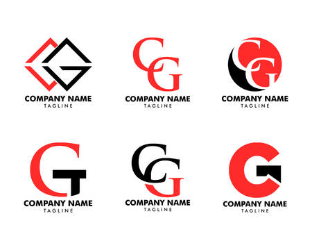 Set of Initial illustration of letter cg vector logo