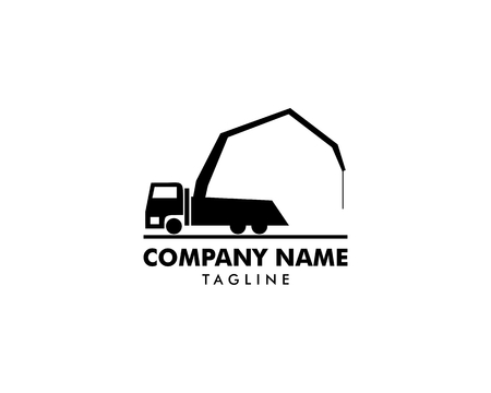 Concrete pump truck silhouettes logo icon Illustration