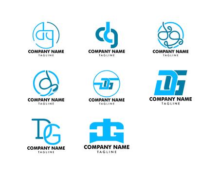 Set of Initial Letter DG Logo Design Template
