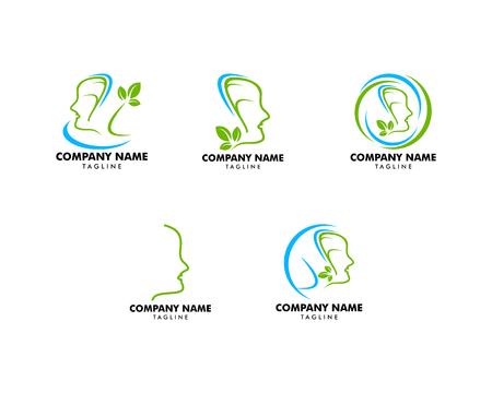Set of Logo dermatology skin medical or cosmetology clinic