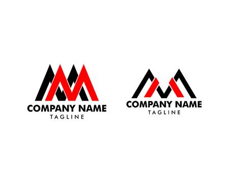 Set of Initial Letter MM Logo Template Design Logo