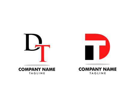 Set of Initial Letter DT Logo Template Design