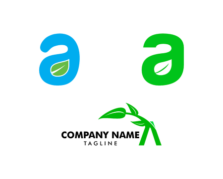 Set of Initial Letter A With Leaf Logo Logo