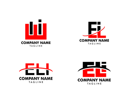 Set of Initial Letter Logo ELI Template Vector Design