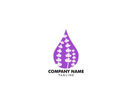 Lavender essential oil logo, Aromatherapy logo, Icon with a drop of lavender essential oil, Aromatherapy, perfumery, cosmetics, spa logo