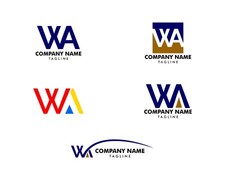 Set of Initial Letter WA Logo Template Design Logo