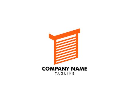 Modèle d'icône de logo de porte de volet roulant
