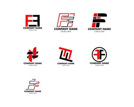Conjunto de diseño de plantillas de logotipo FF letra inicial Logos