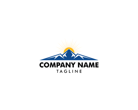 Mountain and sun logo template