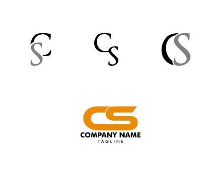 Set of Initial Letter CS Design Logo Logó
