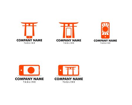 Set of Japanese mobile phone (smartphone) logo template Illustration