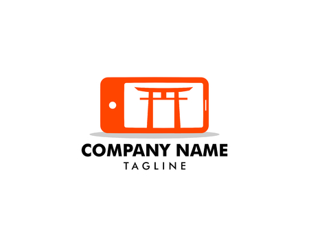 Japanese mobile phone (smartphone) logo template Illustration
