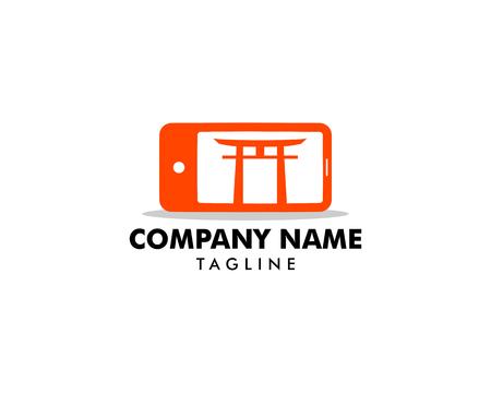 Japanese mobile phone (smartphone) logo template Illustration