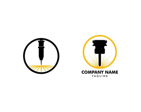 Set of Laser engraving machine vector design logo template