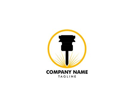 Modèle de logo de conception de vecteur de machine de gravure laser Logo