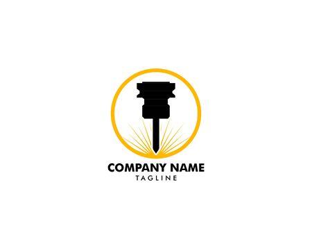 Plantilla de logotipo de diseño de vector de máquina de grabado láser Logos
