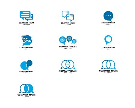 Set of Bubble Chat Concept Logo Design Template Stock Vector - 124858332