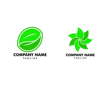 Set of Abstract green leaf logo icon vector design Banque d'images - 124858415