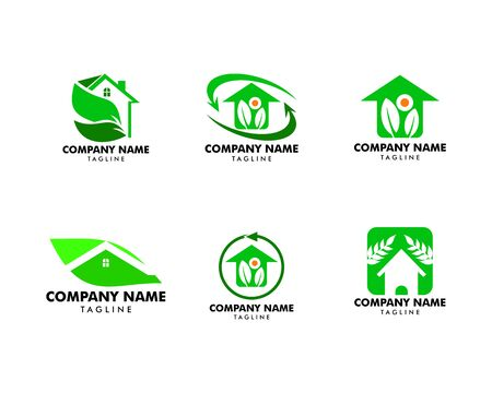 Set of Leaf and Green House Logo Template Banque d'images - 124858416