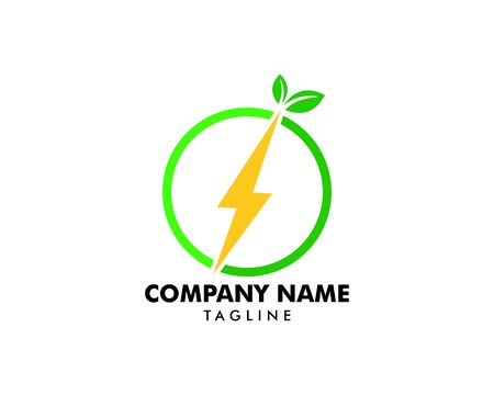 Green Power Energy Logo Design Element Banque d'images - 124858423