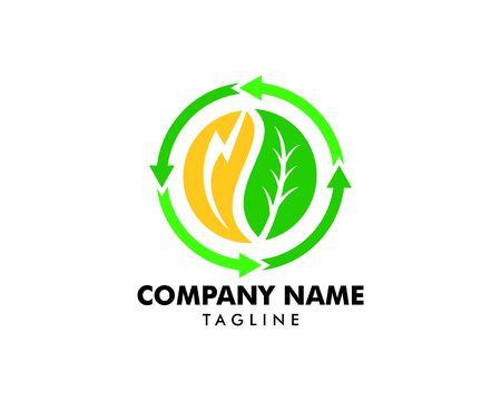 Green Power Energy Logo Design Element Standard-Bild - 124858424