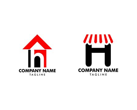 Set of Initial Letter H House Logo Template Banque d'images - 124858472