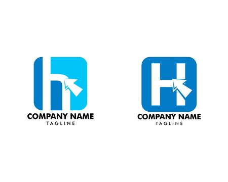Set of Initial letter H with arrow symbol logo vector illustration Banque d'images - 124858473