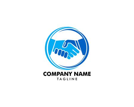 Handshake in Circle Logo Template Banque d'images - 124858476