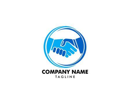 Handshake in Circle Logo Template