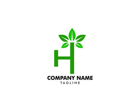 Initial Letter H With Leaf Logo Banque d'images - 124858525