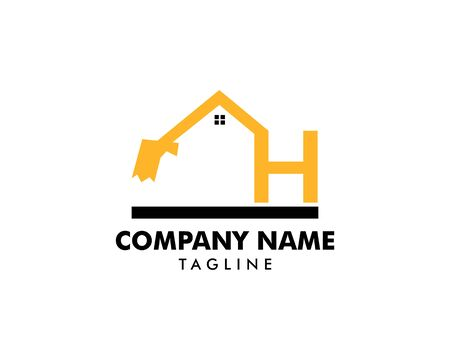 Construction logo template, Home and Real Estate icon, Letter H logo template with House Building, Initial H excavator logo concept template vector Banque d'images - 124858532