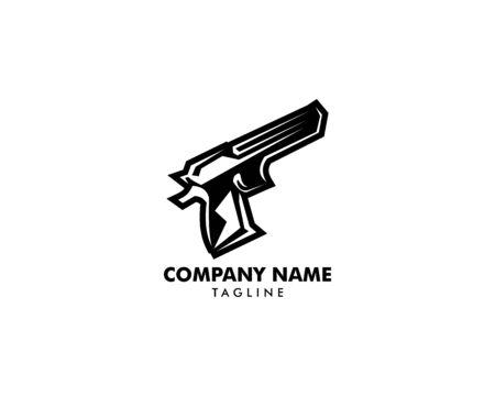 Pistol gun icon vector logo template Illustration