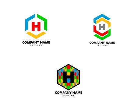 Set of Initial Letter H Hexagon Logo Template Design Banque d'images - 124858565