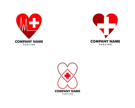 Set of Cross plus heart medical logo icon design template elements Banque d'images - 124858568