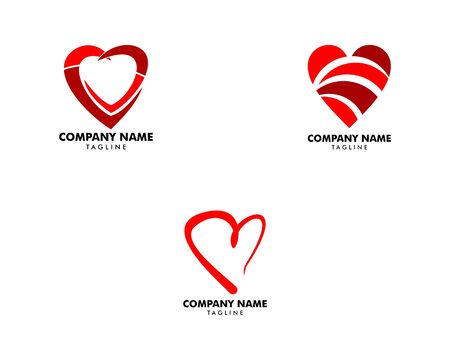 Set of Heart Love Logo Vector Illustration Banque d'images - 124858570