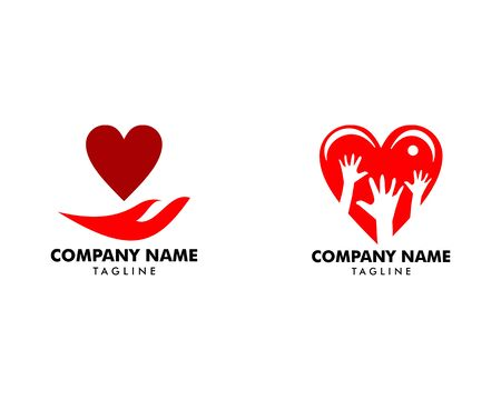 Set of Heart Care Logo Template Design Banque d'images - 124858590