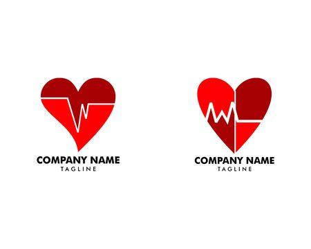 Set of Heart Beat Logo Template Design Banque d'images - 124858591