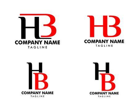 Set of Initial Letter HB Logo Template Design