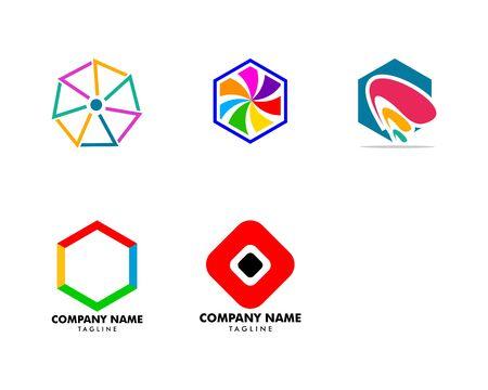 Set of Abstract hexagon logo design Banque d'images - 124858640