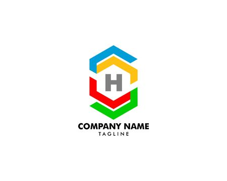 Initial Letter H Hexagon Logo Template Design Banque d'images - 124858686