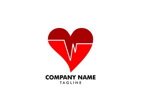Heart Beat Logo Template Design Banque d'images - 124858691