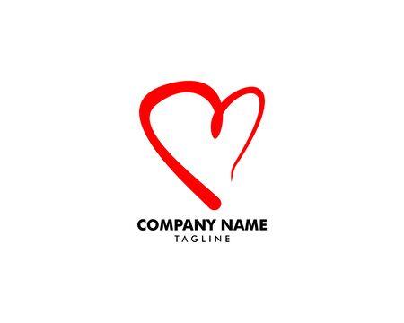 Heart Love Logo Vector Illustration Banque d'images - 124858692