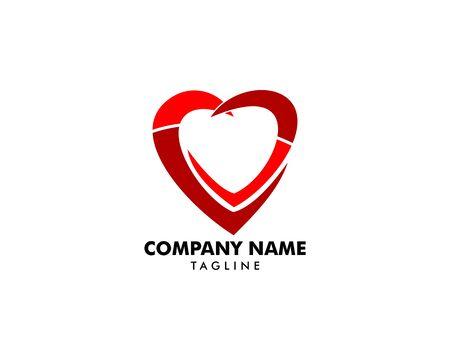 Heart Love Logo Vector Illustration Banque d'images - 124858693
