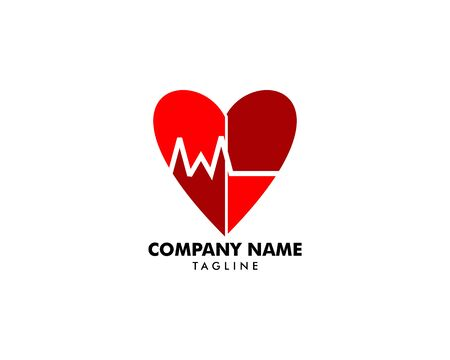 Heart Beat Logo Template Design Banque d'images - 124858695