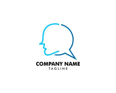 Head Chat Logo Template Design Vector Banque d'images - 124858710