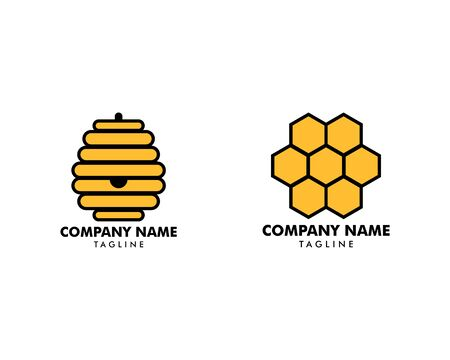Set of Honeycomb Logo Template Design Vector Banque d'images - 124858708
