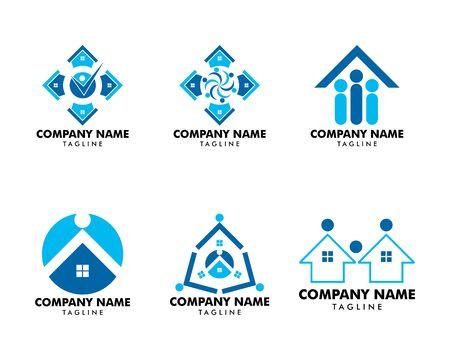 Set von House People Community Logo Design Template